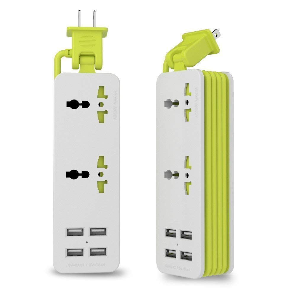 UPWADE Outlet Travel Power Strip Surge Protector with 4 Smart USB Charging Ports